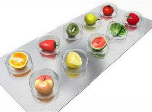 Фрукты и овощи в облатке из-под таблеток