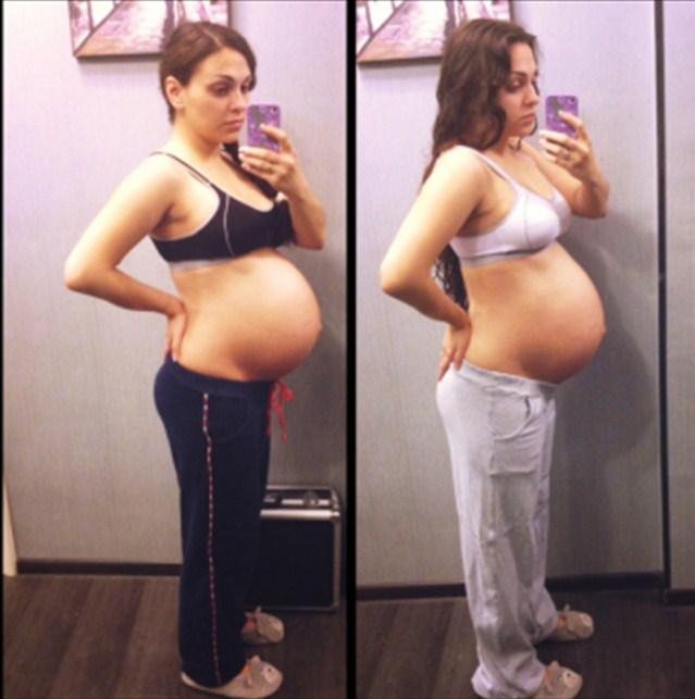 Беременная снимает свой живот