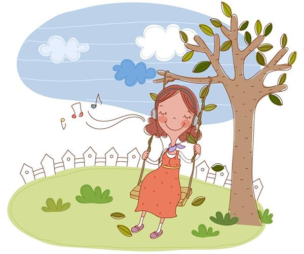 Рисунок - беременная слушает музыку на качелях